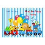 Animais da foto do trem do primeiro aniversário do convite personalizado