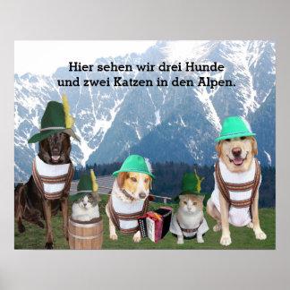 Animais de estimação engraçados no poster alemão