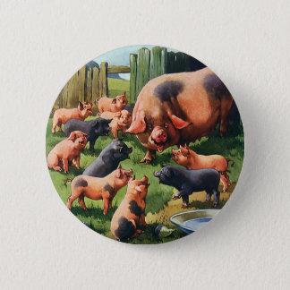 Animais de fazenda do vintage, porco com os leitão bóton redondo 5.08cm
