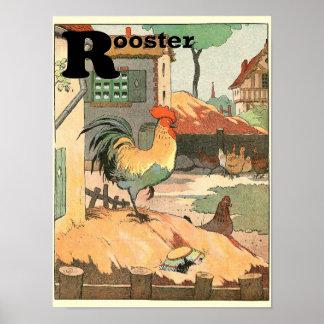 Animais do alfabeto do galo e das galinhas pôster