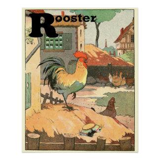 Animais do alfabeto do galo e das galinhas poster perfeito