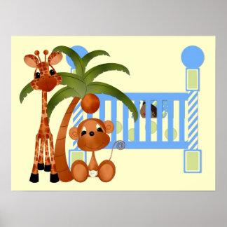 Animais do bebê azul com a decoração da parede da  poster