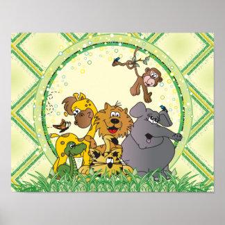 Animais do bebê da selva do safari pôster
