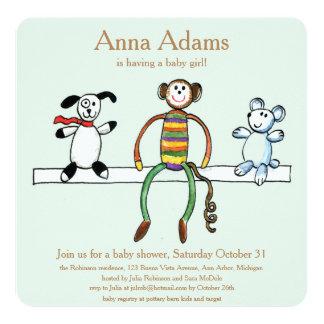 Animais do brinquedo para o bebé convite quadrado 13.35 x 13.35cm