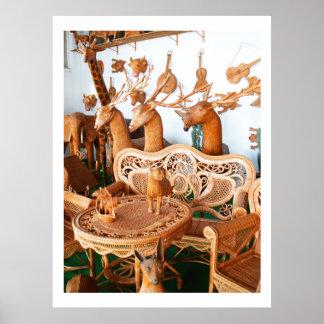 Animais e mobília do Wickerwork Poster