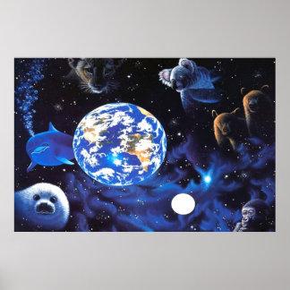 Animais no poster do espaço