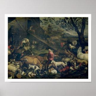 Animais que entram na arca (óleo em canvas) posteres