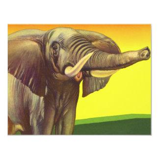 Animais selvagens do vintage, elefante africano convite 10.79 x 13.97cm
