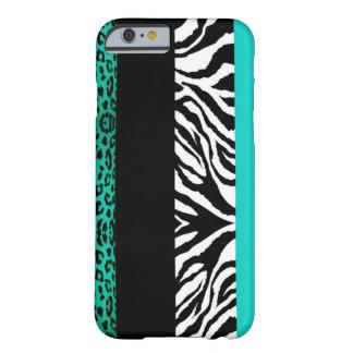 Animal azul do costume do leopardo e da zebra do capa barely there para iPhone 6