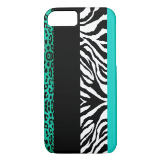 Animal azul do costume do leopardo e da zebra do capa iPhone 7
