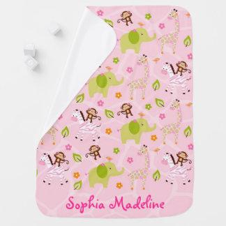 Animal cor-de-rosa da selva mantas para bebe