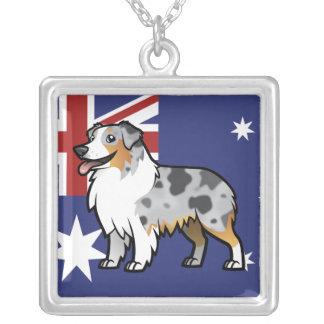 Animal de estimação customizável bonito na colar banhado a prata