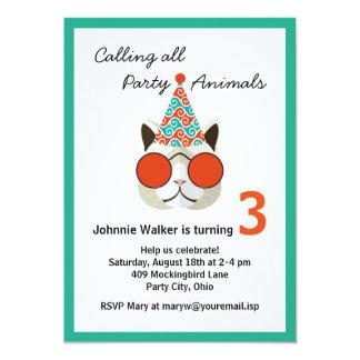 Animal de festa de aniversário engraçado - todas convite 12.7 x 17.78cm
