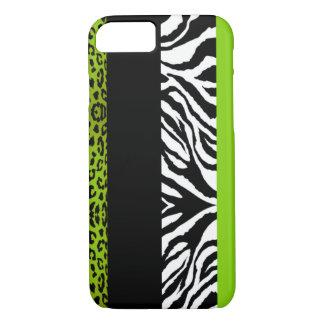 Animal do costume do leopardo e da zebra do verde capa iPhone 7