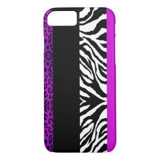 Animal roxo do costume do leopardo e da zebra capa iPhone 7