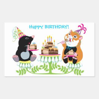 aniversário adesivo retangular