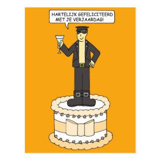 Aniversário alegre holandês, para o homem no couro cartão postal