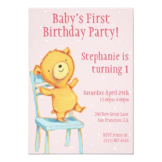 Aniversário amarelo do urso convite 12.7 x 17.78cm