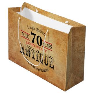 Aniversário antigo do 70 sacola para presentes grande