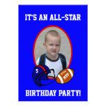 Aniversário azul e vermelho do futebol e do capace convite