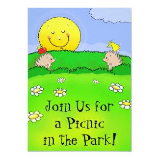 aniversário bonito do parque do piquenique dos convites personalizado