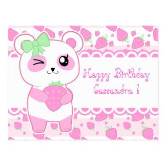 Aniversário bonito do urso de panda de Kawaii do Cartão Postal
