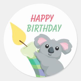 Aniversário carnudo bonito da ilustração do Koala Adesivo