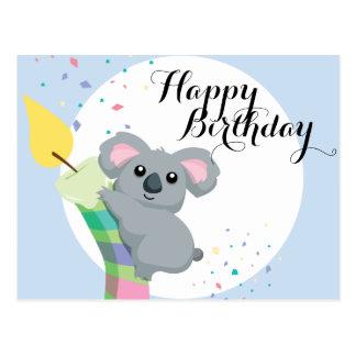 Aniversário carnudo bonito da ilustração do Koala Cartão Postal
