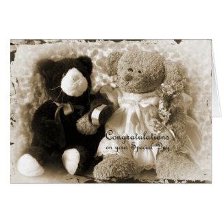 Aniversário-Casamento - urso e luxuoso Cartão Comemorativo