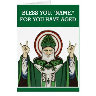 aniversário católico engraçado cartão comemorativo