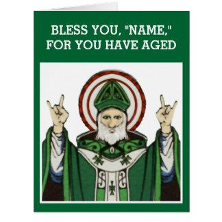 aniversário católico engraçado cartão comemorativo grande