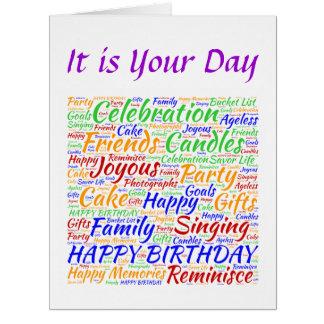 Aniversário colorido cartões
