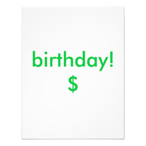 aniversário! $ convites personalizado