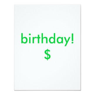 aniversário! $ convite 10.79 x 13.97cm