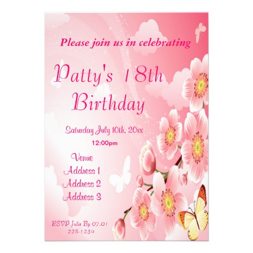 Aniversário cor-de-rosa das flores & das borboleta convite personalizados