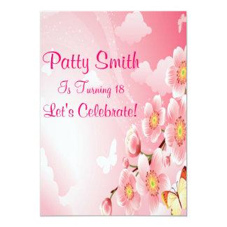 Aniversário cor-de-rosa das flores & das convite