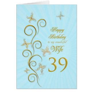 Aniversário da esposa 39th com borboletas douradas cartão