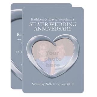 Aniversário da foto do coração do casamento de convite 12.7 x 17.78cm