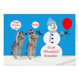 Aniversário da Noite de Natal para cartões do neto