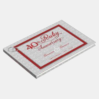 Aniversário da prata e do rubi do vermelho 40th livro de visitas