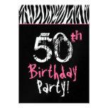 Aniversário da zebra cor-de-rosa branca preta na m convites personalizados