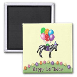 aniversário da zebra ímã quadrado