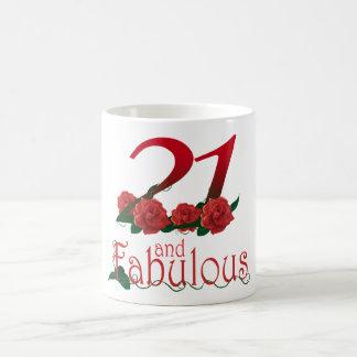 Aniversário de 21 anos 21 e caneca floral das