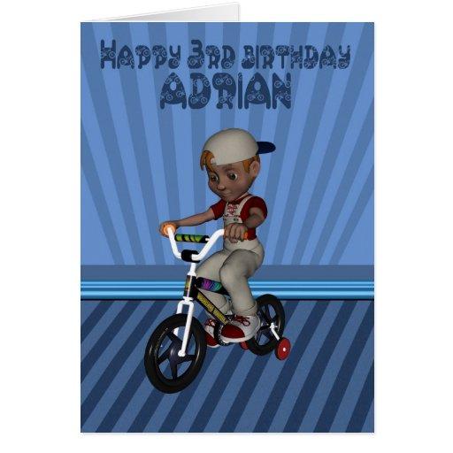 Aniversário de 3 anos feliz nomeado Adrian, neto Cartões