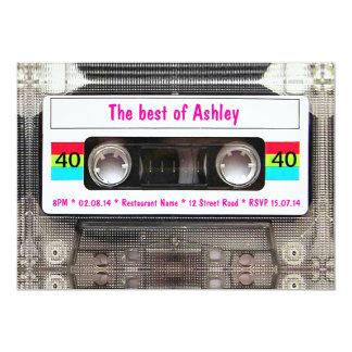 Aniversário de 40 anos engraçado da cassete de convite 12.7 x 17.78cm