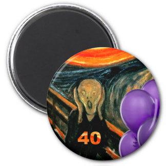 Aniversário de 40 anos engraçado ímã redondo 5.08cm