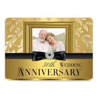 Aniversário de casamento 4 da foto 50th do arco do convite 12.7 x 17.78cm