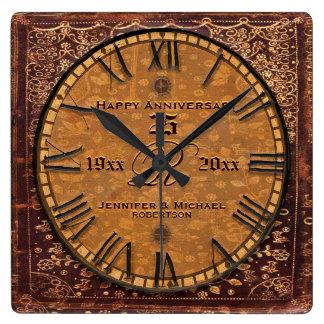 Aniversário de casamento antigo do vintage relógio quadrado