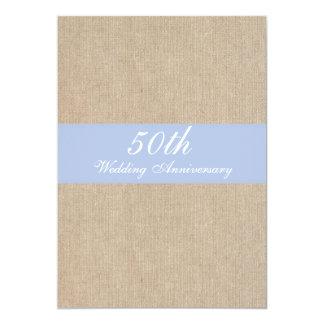Aniversário de casamento azul de serapilheira do convite 12.7 x 17.78cm