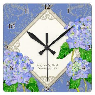 Aniversário de casamento azul do Hydrangea do Relógio Quadrado